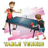 Cartoon vector table tennis
